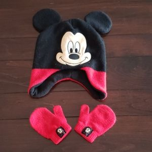 Mickey Mouse toddler hat & mittens
